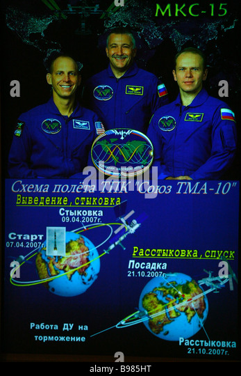 The ISS 15 crew and mission graph screened at the Mission Control Center in Korolev near Moscow - Stock Image