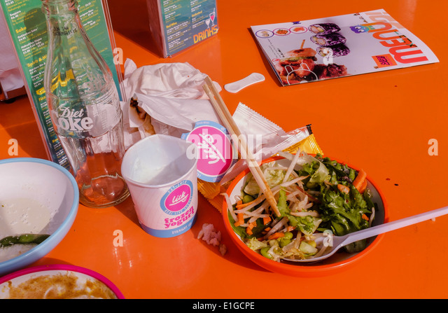 Food waste at fast food outlet. London, UK - Stock Image