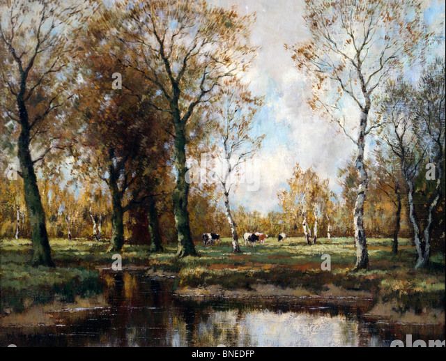 Wooded River Landscape, Hendricks, Willhem (19th C./Dutch) - Stock Image