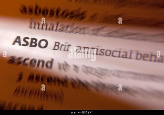 Concept - ASBO ( Anti-Social Behaviour Order ) - Stock Image