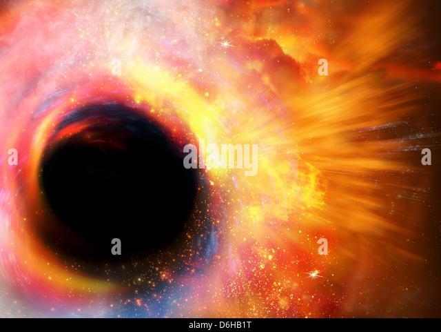 Black hole formation, artwork - Stock Image
