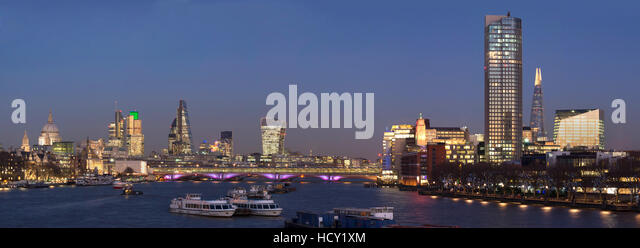 City and Blackfriars panorama with The Shard, London, UK - Stock Image