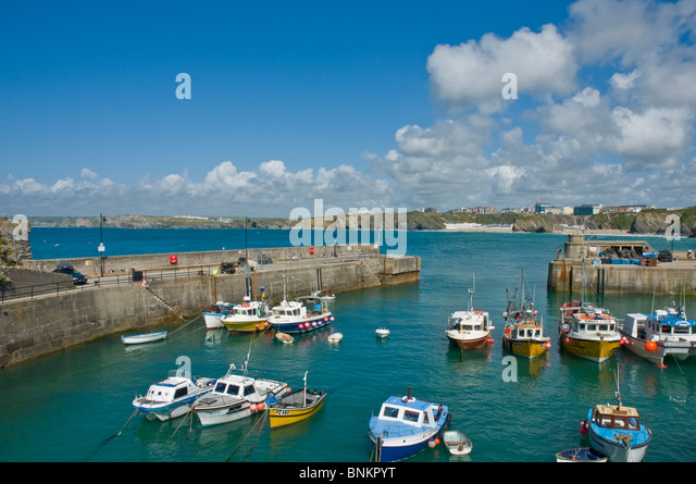 Fishing boats, boats and yachts in harbour Newquay Cornwall England - Stock Image