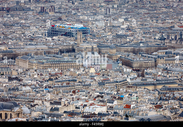 Paris aerial view, rooftops of the 4th arrondissement, Ile de la Cite, Tour Saint Jacques and Centre Georges Pompidou, - Stock Image