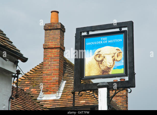 Sign for the Shoulder of Mutton at Hazeley Heath, a pub near Hartley Wintney, Hampshire, England UK - Stock Image