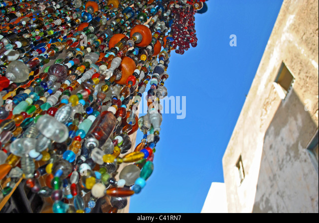 Beaded necklaces for sale in Essaouira, Morocco - Stock Image