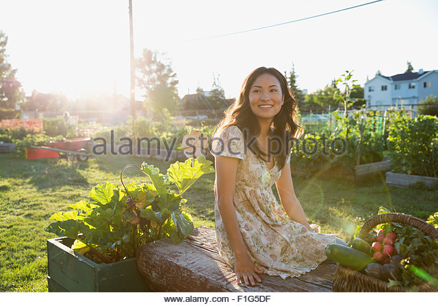Smiling teenage girl harvesting vegetables in garden - Stock Image