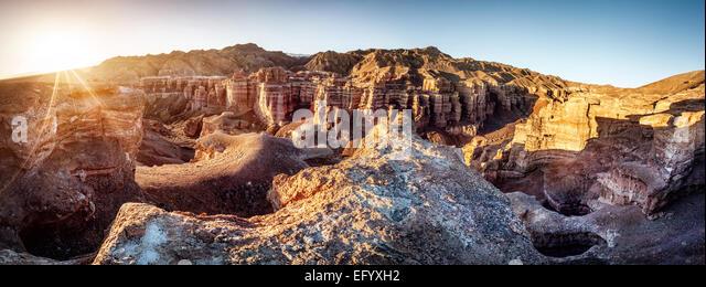Charyn grand canyon at sunrise in Kazakhstan - Stock Image