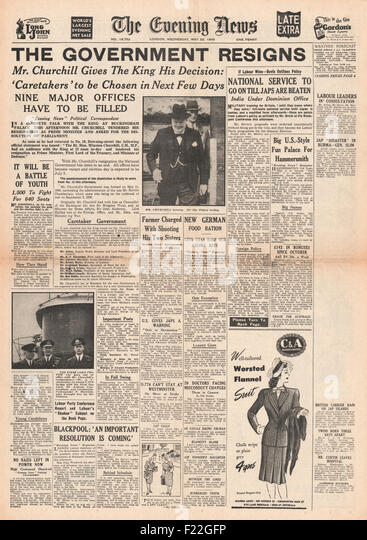 1945 Evening News (London) front page reporting Churchill and British Government Resign - Stock Image
