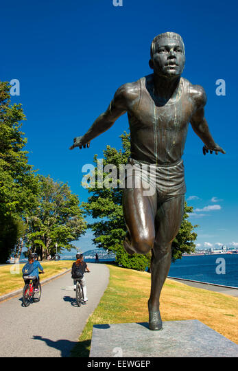 Statue of harry jerome  in Stanley Park - Stock Image