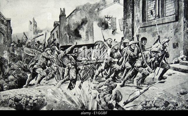 Illustration of dauntiless heroism of British guards that saved the day. Dated 1917 - Stock Image