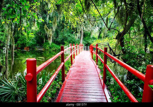 Little Red Footbridge  Over a Pond, Magnolia Plantation, Charleston, South Carolina - Stock Image