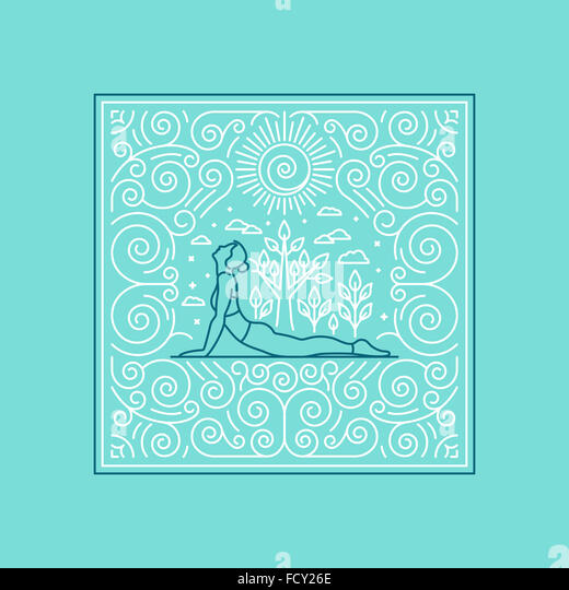 Llinear illustration for t-shirt print, poster or greeting card - yoga concept - linear icons and frame with ornamental - Stock-Bilder