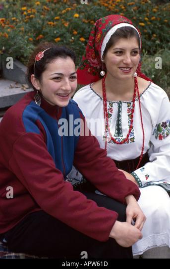 Moldova Eastern Europe Kishinev University students modern dress national costume culture - Stock Image