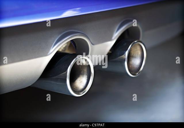 Exhaust pipe pollution - Stock Image
