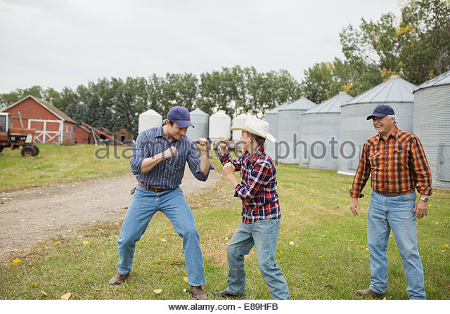 Father and son play fighting on farm - Stock Image