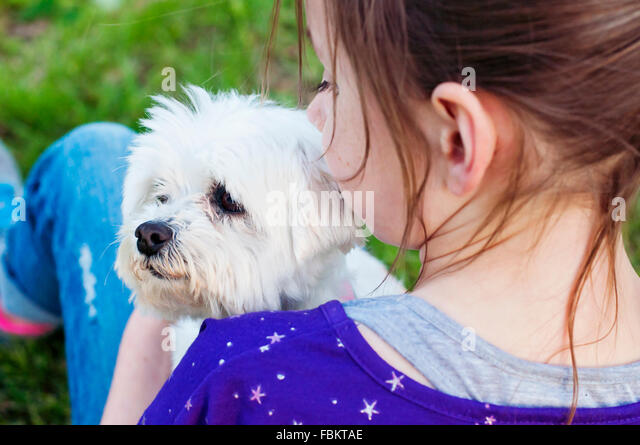 Girl holding dog - Stock Image