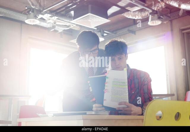 businessman document editing office - Stock Image