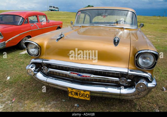 Vintage Car Cuba - Classic American cars in Varadero, Matanzas, Cuba. - Stock Image