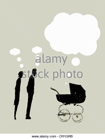 Parents with small thought bubbles overhead looking at pram with large speech bubble above - Stock-Bilder