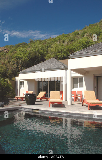 St Barts Saint Barth luxury villa swimming pool Caribbean French West Indies - Stock Image