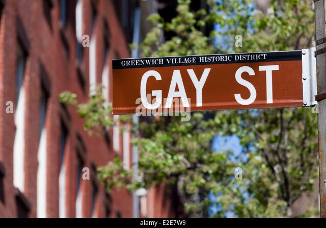 United States, New York, Manhattan, The Village, Gay Street - Stock Image