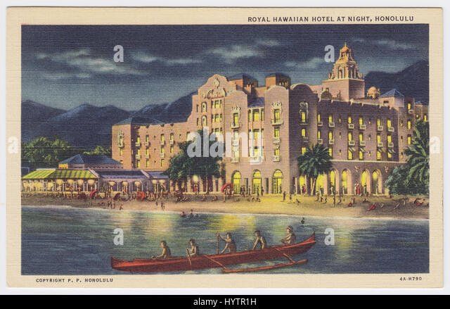 Royal Hawaiian Hotel at night, Honolulu, United States - Stock Image