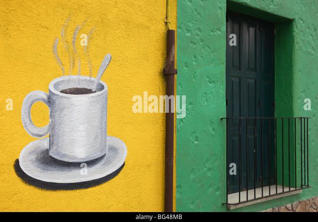Uruguay, Colonia del Sacramento, coffee shop exterior - Stock Image