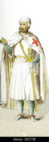 The figure represented here is an English Knight Templar around A.D. 1200. The illustration dates to 1882. - Stock Image