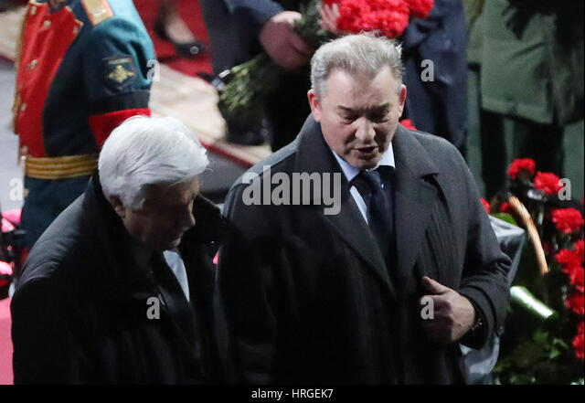 Moscow, Russia. 2nd Mar, 2017. Vladislav Tretiak (R), Russian Ice Hockey Federation President and former goaltender - Stock Image