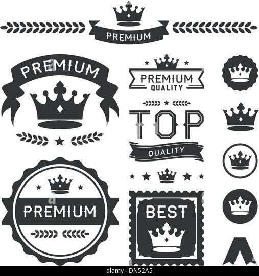 Premium Crown Badges & Vector Element Collection - Stock Image