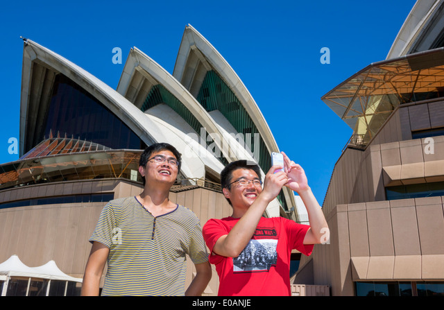 Sydney Australia NSW New South Wales Sydney Harbour harbor Sydney Opera House design shell roof ceramic tile Asian - Stock Image