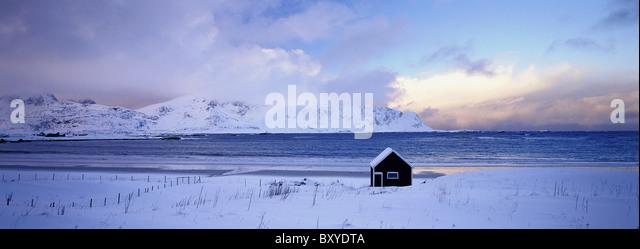 Hut, Moskenes, Flakstadoya Island, Lofotens, Norway - Stock-Bilder