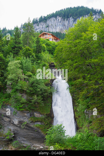 Reichenbach Falls, fictional location of Sherlock Holmes' death, Meiringen, Switzerland, Europe - Stock Image
