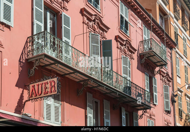 Facade of Confectionary shop Nice France called Auer in Nice France - Stock Image