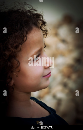 Pretty girl's face side view Beirut Lebanon Middle East Asia - Stock Image