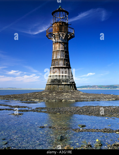 Whiteford point lighthouse, Gower peninsula, South Wales, UK - Stock-Bilder