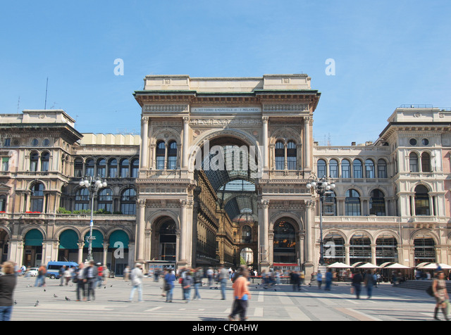 The Piazza Duomo square in Milan, Italy - Stock Image