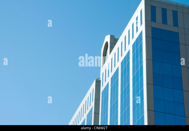 Glass facade and diagonal composition. Madrid, Spain. - Stock Image