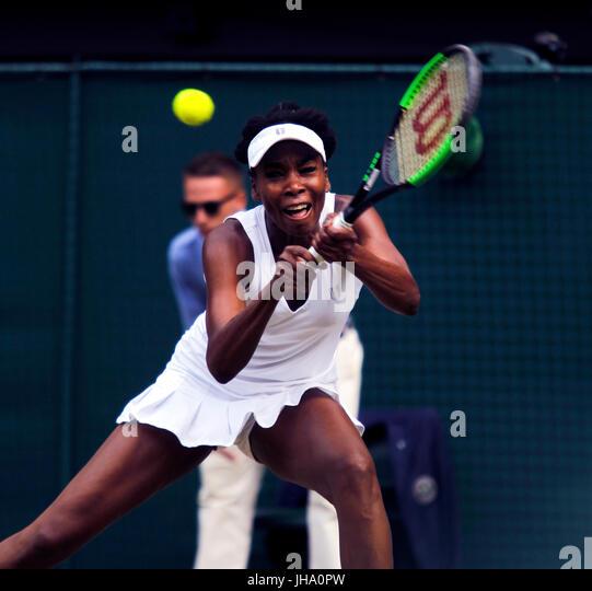 London, UK. 13th July, 2017. Wimbledon Tennis: London, 13 July, 2017 - Venus Williams during her semi final victory - Stock Image