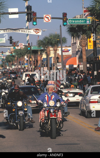 Daytona Beach Florida fl bike week biker dressed as uncle sam - Stock Image
