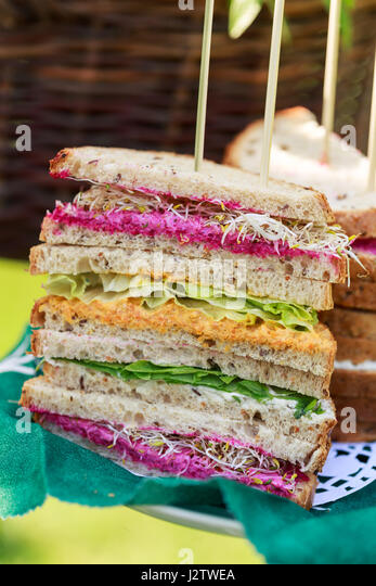 stack of vegetarian sandwiches - Stock Image