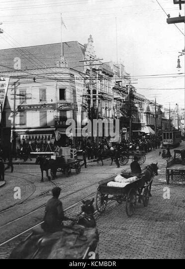 Angle du boulevard Saint Laurent et de la rue Sainte Catherine Montreal 1905 - Stock Image