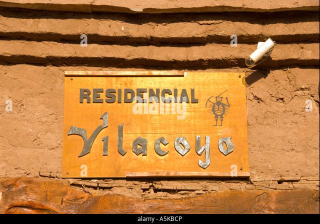 Chile San Pedro de Atacama hotel sign - Stock Image