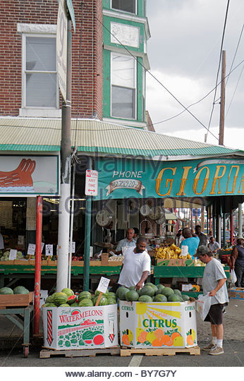 Philadelphia Pennsylvania South Philly South 9th Street Italian Market ethnic immigrant neighborhood market Giordano's - Stock Image