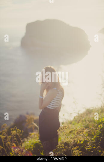 a girl in the nature - Stock Image