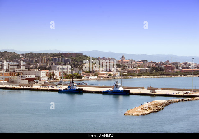 Cagliari Port, Sardinia, Europe,   landmark harbour harbor holiday vacation destination outside outdoor outdoors - Stock Image
