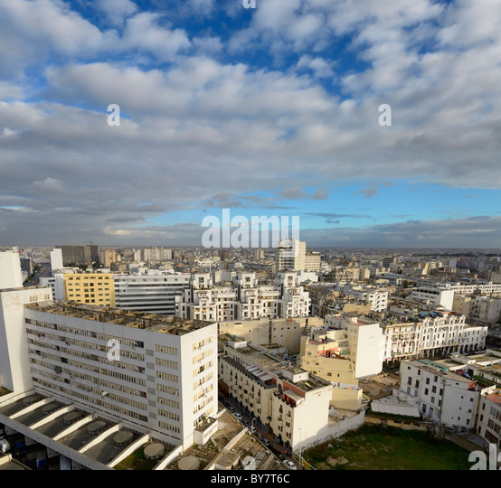 Wide angle view looking down on the white Casablanca cityscape Morocco - Stock Image