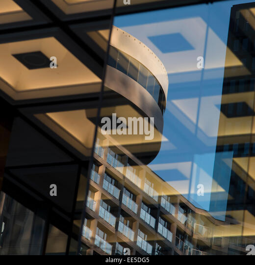 Detail of a modern glass building, Vancouver, British Columbia, Canada - Stock Image