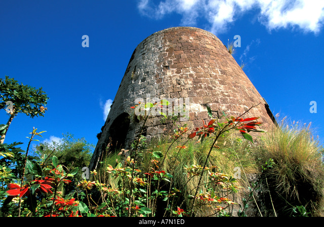 NEVIS Sugar Mill Tower windmill tower blue sky nevis - Stock Image
